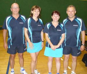 Gerhard, Dagmar, Astrid und Andreas freuen sich über einen unerwarteten Sieg
