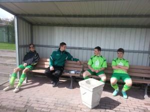 Besprechung mit Ingo, Dominic, Bulli und Lukas (v.l.)